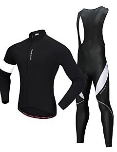 billige Sykkelklær-WOSAWE Sykkeljersey med bib-tights / Sykkeljakke / Tights med seler til sykling - Svart / Hvit Sykkel Tights Med Seler, 3D Pute, Refleksbånd Polyester / Elastisk
