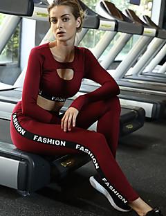 billige Løbetøj-Dame Udskæring Træningsdragt / Yoga Suit - Sort, Bourgogne Sport Bogstaver Spandex Højtaljede Crop top / Skinny bukser Yoga, Løb, Fitness Langærmet Sportstøj Letvægt, Åndbart, Anatomisk design Høj