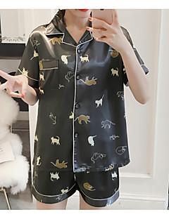 billige Moteundertøy-Dame Skjortekrage Teddy Pyjamas - Polkadotter