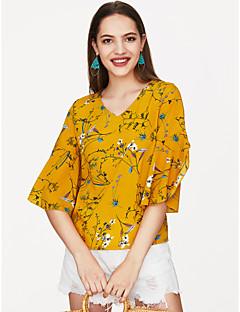 Χαμηλού Κόστους Πώληση-Γυναικεία Μπλούζα Φλοράλ Λαιμόκοψη V / flare μανίκι