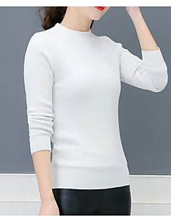 tanie Swetry damskie-Damskie Wyjściowe Półgolf Szczupła Pulower Jendolity kolor Długi rękaw