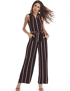 billige Jumpsuits og sparkebukser til damer-Dame Bomull Kjeledresser - Stripet Skjortekrage