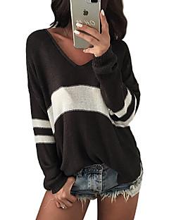 baratos Suéteres de Mulher-Mulheres Manga Longa Algodão Pulôver - Listrado Algodão / Decote V / Primavera