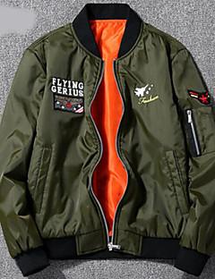 cheap Men's Jackets & Coats-Men's Sports Spring &  Fall / Winter Plus Size Regular Jacket, Color Block Round Neck Long Sleeve Polyester Black / Navy Blue / Army Green XXL / XXXL / 4XL