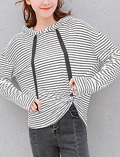 tanie Damskie bluzy z kapturem-damska bluza z kapturem z długim rękawem - w paski z kapturem