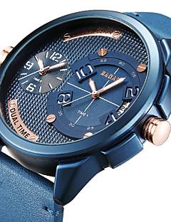 7a87fedba66 Homens Relógio Esportivo Relógio de Pulso Japanês Quartzo Couro Legitimo  Preta   Azul   Marrom Dois Fusos Horários Relógio Casual Legal Analógico  Luxo ...