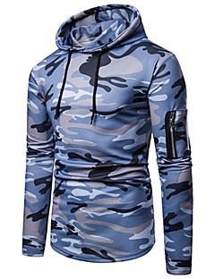 baratos Abrigos e Moletons Masculinos-Homens Moda de Rua / Militar Moletom - Estampado, Estampa Colorida / camuflagem