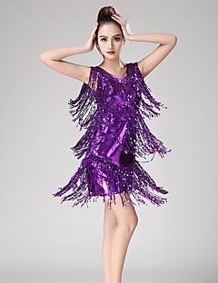 baratos Roupas de Dança Latina-Dança Latina Vestidos Mulheres Espetáculo Elastano Mocassim / Lantejoula Sem Manga Vestido