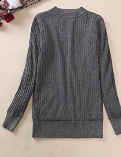 baratos Suéteres de Mulher-Mulheres Manga Longa Pêlo Sintético Pulôver - Sólido / Listrado / Estampa Colorida Pêlo Sintético / Primavera / Outono