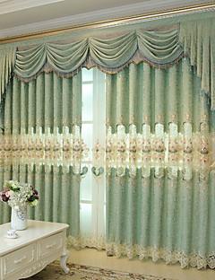billige Mørkleggingsgardiner-gardiner gardiner Soverom Blomstret / Geometrisk Polyester Broderi