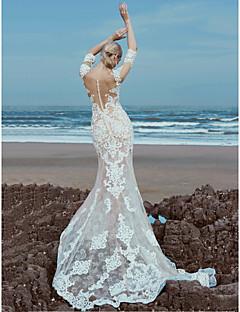 billiga A-linjeformade brudklänningar-A-linje Illusion Halsband Svepsläp Spets / Tyll Bröllopsklänningar tillverkade med Bård / Spets av LAN TING BRIDE® / Vacker i svart