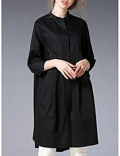 billige Skjorte-Høj krave Dame - Ensfarvet Skjorte