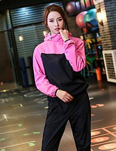 billige Løbetøj-Dame Lomme Kraftig træningsdragt - Lys pink Sport Farveblok Hattetrøje / Bukser Yoga, Løb, Fitness Langærmet Sportstøj Vindtæt, Letvægt, Vægttab Uelastisk Løstsiddende