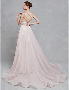 billiga A-linjeformade brudklänningar-A-linje Smala axelband Hovsläp Spets / Tyll Bröllopsklänningar tillverkade med Spets av LAN TING BRIDE® / Vacker i svart