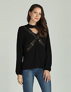 Χαμηλού Κόστους Γυναικείες Μπλούζες-Γυναικεία T-shirt Μονόχρωμο Κοφτό / Lace Trim
