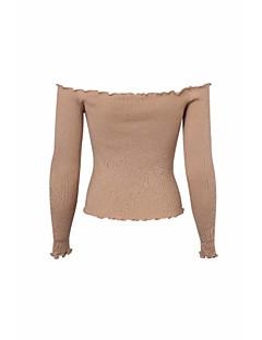 baratos Suéteres de Mulher-pullover de algodão de manga comprida para mulher - strapless sólido colorido