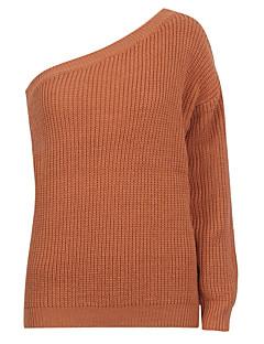 tanie Swetry damskie-Damskie Na jedno ramię Pulower Jendolity kolor Długi rękaw