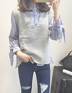 baratos Suéteres de Mulher-Mulheres Para Noite Sólido Sem Manga Padrão Pulôver, Decote V Azul Marinha / Cinzento / Khaki Tamanho Único