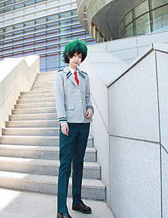 "billige Anime cosplay-Inspirert av My Hero Academia Midoriya Izuku / Todoroki Shoto Anime  ""Cosplay-kostymer"" Cosplay Klær Ensfarget / Animé Frakk / Trøye / Bukser Til Herre Halloween-kostymer"