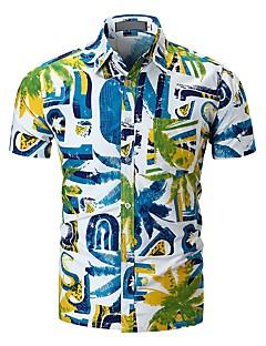 billige Herremote og klær-Skjorte Herre - Fargeblokk, Trykt mønster Aktiv / Grunnleggende BLå & Hvit / Tropisk blad