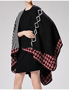 baratos Cachecóis da Moda-Mulheres Básico / Férias Retângular - Fenda Listrado / Geométrica / Estampa Colorida Preto e Vermelho