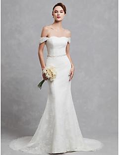 billiga Brudklänningar-Trumpet / sjöjungfru Off shoulder Svepsläp Spets Bröllopsklänningar tillverkade med Spets av LAN TING BRIDE®