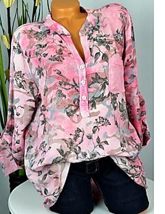 billige T-shirt-V-hals Dame - Blomstret I-byen-tøj T-shirt