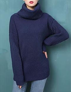 tanie Swetry damskie-Damskie Futro królika Golf Luźna Pulower Solidne kolory Długi rękaw
