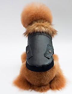 billiga Hundkläder-Hund / Katt Kappor Hundkläder Enfärgad Svart / Röd PU läder Kostym För husdjur Unisex Ledigt / vardag / Uppvärmning