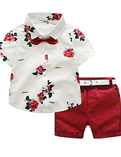 cheap Cool Boys' Clothing New In-Kids Boys' Basic Daily Solid Colored / Floral Short Sleeve Regular Regular Polyester Clothing Set Red 3-4 Years(110cm)