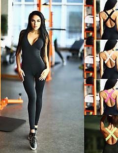billiga Träning-, jogging- och yogakläder-Dam Öppen Rygg Yoga Suit - Svart, Fuchsia, Grön sporter Färgblock Elastan Hög midja Kroppsdräkt Dans, Löpning, Fitness Ärmlös Sportkläder Andningsfunktion, Anatomisk design, Butt Lift Elastisk Skinny