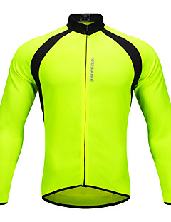 billige Sykkeljerseys-WOSAWE Unisex Langermet Sykkeljersey - Grønn Lapper Sykkel Jersey Topper Polyester / Elastisk / Avanceret