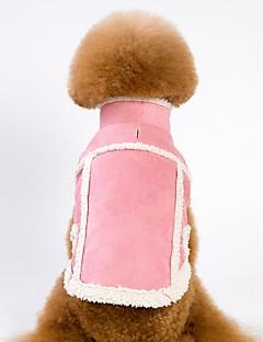billiga Hundkläder-Hund / Katt Kappor / Jakke Hundkläder Enfärgad Brun / Rosa Pälsimitation / Polär Ull Kostym För husdjur Unisex Uppvärmning / Brittisk