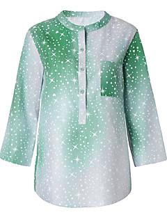 billige Skjorte-Rund hals Tynd Dame - Farveblok I-byen-tøj Skjorte