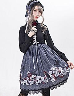 billiga Lolitamode-Gotisk Lolita Söt Lolita Blom Vintage Dam Klänningar Cosplay Grå / Röd / Blå Ärmlös Ärmlös Midi Halloweenkostymer