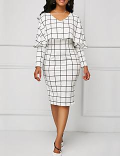 Χαμηλού Κόστους Επαγγελματικά Φορέματα-Γυναικεία Εξόδου / Δουλειά Θήκη Φόρεμα - Τετράγωνο Καρό, Με Βολάν Ως το Γόνατο Λαιμόκοψη V