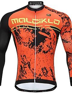 billige Sykkelklær-Malciklo Langermet Sykkeljakke med bukser - Oransje Sykkel Hold Varm, Anatomisk design Fleece