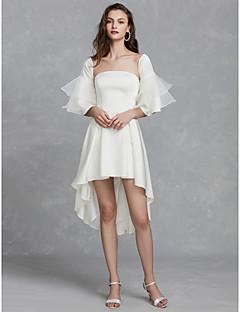 billiga Brudklänningar-A-linje Axelbandslös Asymmetrisk Satäng Bröllopsklänningar tillverkade med Veckad av LAN TING BRIDE® / Klocka / Liten vit klänning