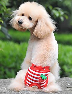 billiga Hundkläder-Hund / Katt Byxor Hundkläder Randig / Frukt Vit / Röd / Blå Cotton Kostym För husdjur Dam Söt Stil / Unik design