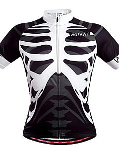 fcbfd2dc0065e WOSAWE Men s Unisex Short Sleeve Cycling Jersey - Black   White Skeleton Bike  Jersey Top Breathable Quick Dry Back Pocket Sports Polyester Mountain Bike  MTB ...