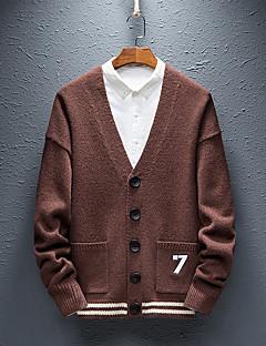 tanie Męskie swetry i swetry rozpinane-Męskie Podstawowy Flare rękawem Sweter rozpinany - Haft, Solidne kolory