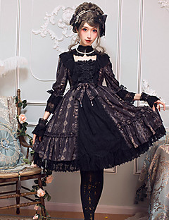 billiga Lolitamode-Gotisk Lolita Klassisk Elegant Dam Klänningar Cosplay Svart / Brun Flamma Ärm 3/4 ärm Midi Halloweenkostymer