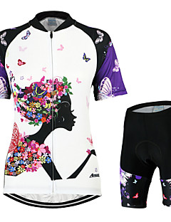Arsuxeo Women s Short Sleeve Cycling Jersey with Shorts - White   Black  Butterfly Bike Clothing Suit Breathable 3D Pad Quick Dry Anatomic Design  Back Pocket ... a74f0ef0d