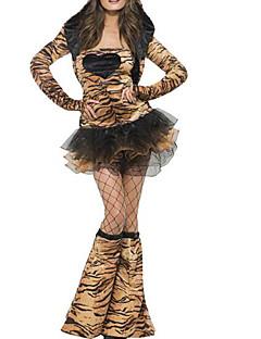 billige Halloweenkostymer-Kat Kjoler Dame Halloween Karneval Maskerade Festival / høytid Halloween-kostymer Drakter Brun Leopardprint Sexy Halloween
