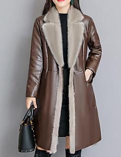 billiga Dampälsar och läder-Enfärgad Fur Coat - Streetchic / Sofistikerat Dam Lappverk