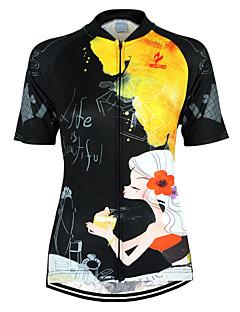 billige Sykkelklær-Arsuxeo Dame Kortermet Sykkeljersey - Svart / Gul Blomster / botanikk Sykkel Jersey Topper, Pustende Fort Tørring Anatomisk design 100% Polyester / Elastisk