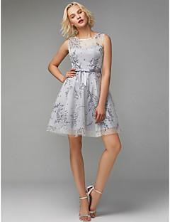 billiga Cocktailklänningar-A-linje Prydd med juveler Kort / mini Tyll Cocktailfest Klänning med Rosett(er) / Mönster / tryck av TS Couture®