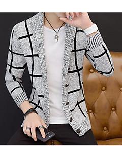 tanie Męskie swetry i swetry rozpinane-Męskie Wyjściowe Kolorowy blok Długi rękaw Szczupła Regularny Sweter rozpinany, W serek Granatowy / Szary L / XL / XXL