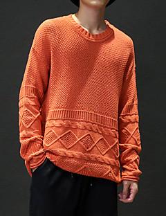 baratos Suéteres & Cardigans Masculinos-Homens Final de semana Manga Longa Lã Solto Pulôver - Sólido Lã / Decote Redondo