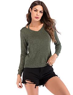 baratos Suéteres de Mulher-Mulheres Básico Pulôver - Sólido, Com Corte